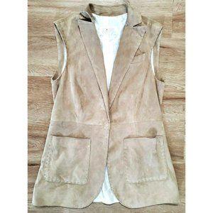 Kiton Womens Suede Leather Tan Blazer Vest